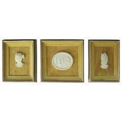 Three Vintage Classical Bisque Parian Warrior Cameos in Shadow Boxes, circa 1950
