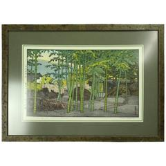 "Vntg Japanese T. Yoshida Wood Block Print ""Bamboo Garden,"" Signed, circa 1930"