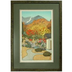 Vintage Japanese Wood Block Print Autumn in Hakone Museum by T. Yoshida Signed