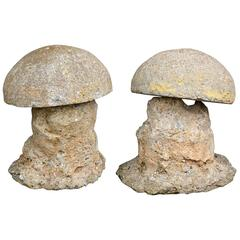 Pair of Antique Mushroom Garden Ornaments