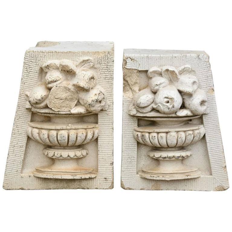 Antique Molded Cement Decorative Brick Panels, Pair