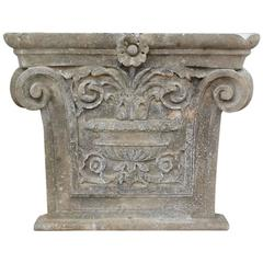 Architectural Stone Ionic Capital on a Base