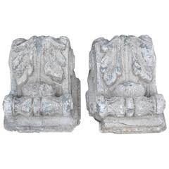Pair of Antique Cast Stone Corbels