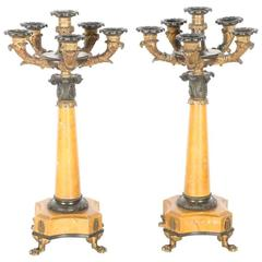 Charles X Style Sienna Marble and Bronze Candelabra