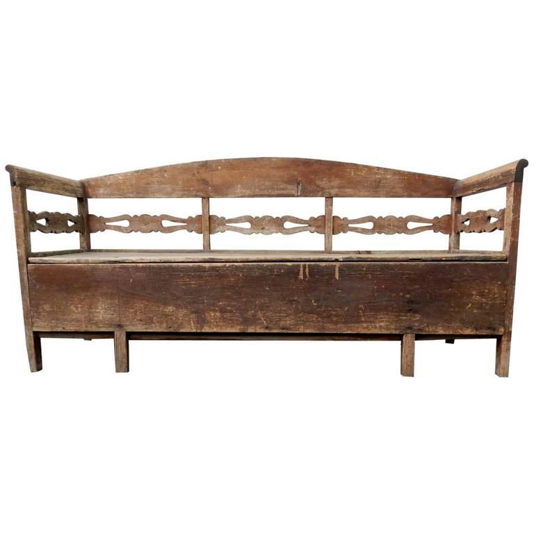 Antique Primitive Trundle Daybed Bench, Sweden, 1800s For Sale at ...