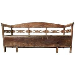 Antique Primitive Trundle Daybed Bench, Sweden, 1800s