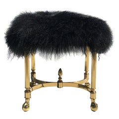 Petit Brass Footrest or Bench with Mongolian Wool