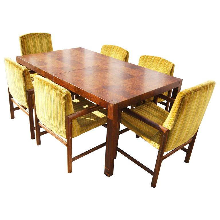 Walnut Burl Wood Dining Table With Six Chairs By Rapids Of Boston For Sale