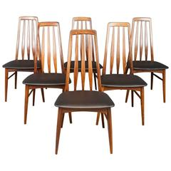 "Set of Six 1960s Niels Koefoed Danish Rosewood ""Eva"" Dining Chairs Mid-Century"