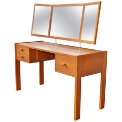 Aksel Kjersgaard Rare Teak Vanity with Tri-Fold Floating Mirror