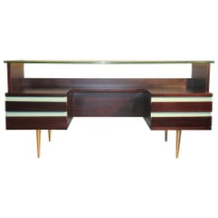 Desks Mid-Century Modern Brass Mahogany Laminate 1950 Italian Design