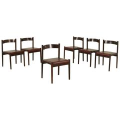 Group of Six Chairs by Cassina Rosewood Foam Leatherette Vintage, Italy, 1960s