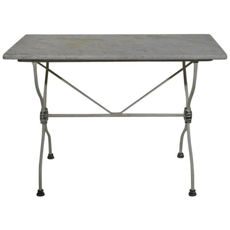 Painted 19th Century French Iron Marble Top Garden Table