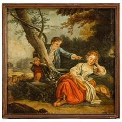 19th Century French Romantic Scene Painting Oil on Canvas