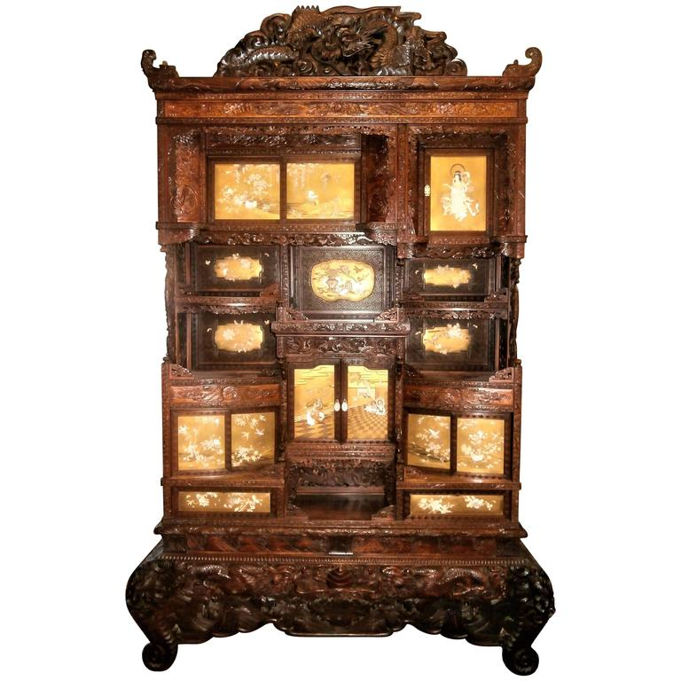 Stunning 19th Century Japanese Cabinet, Gold Lacquer, Mother-of-Pearl and Ivory