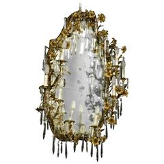Elegant Mirror Frame with Antique Mirror Bronze Lilies Crystal Pendants, Italy