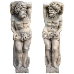 Very Rare Pair of Magnificent 17th Century Stone Sculptures of Telamons