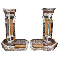 Pair of Italian Marble Models of Ruins in Neoclassical Style