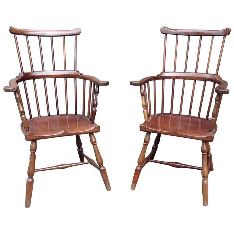 Pair of Rare Windsor Jamaican Comb Back Mahogany Chairs, circa 1820s For Sale