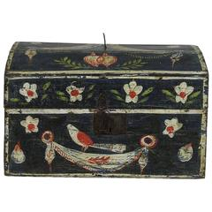 18th Century French Folk Art Weddingbox from Normandy with Hearts and Bird