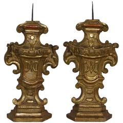 Pair of 18th Century Italian Giltwood Baroque Candlesticks