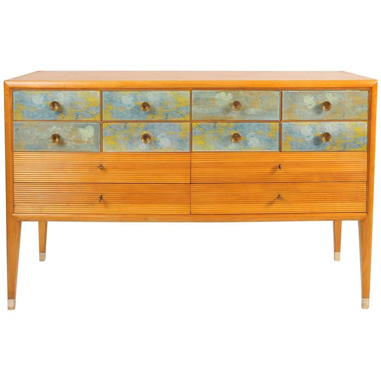 1940s Pear Wood credenza or sideboard with Abstract Designs by Osvaldo Borsani