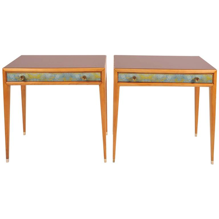 1940s Italian Pear Wood with Amber Glass & Brass Nightstands by Osvaldo Borsani