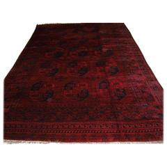 Old Red Afghan Ersari Carpet with Traditional Design, Rich Red Color