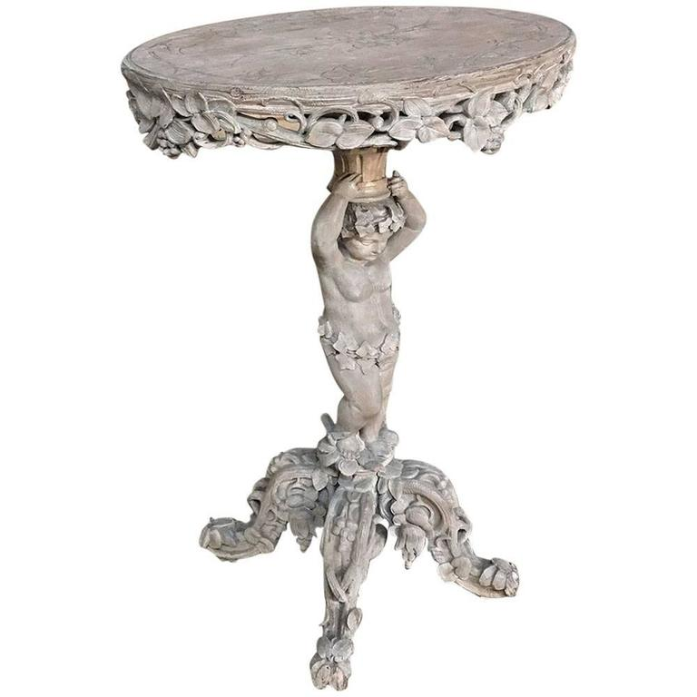 19th century carved angel painted lamp table pedestal for sale at 19th century carved angel painted lamp table pedestal for sale mozeypictures Images