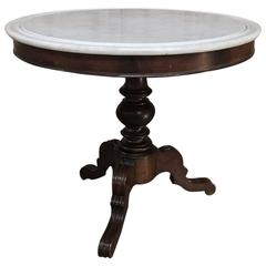 19th Century French Louis Philippe Marble-Top Centre Table