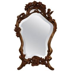 French Art Nouveau Bevelled Glass Mirror
