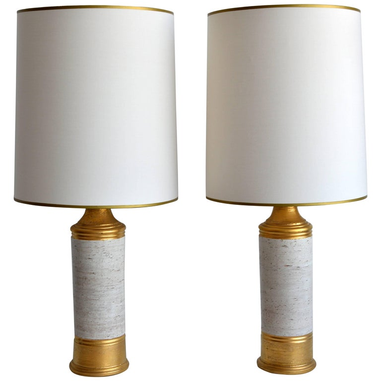 Vintage Pair of Bitossi for Bergboms Table Lamps, 1960's, Swedish For Sale
