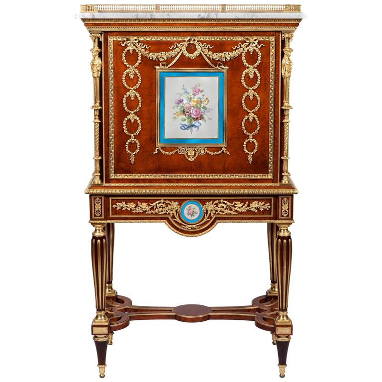 19th Century French Secretaire with Ormolu and Sevres Porcelain Plaques