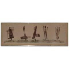 """Harry Bertoia Monoprint, """"5 Sculptures"""""""
