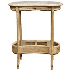 19th Century French Louis XVI Carved and Painted Kidney Table with Marble Top