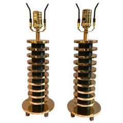 Pair of Brass and Metal Disk Shaped Mid-Century Modern Table Lamps