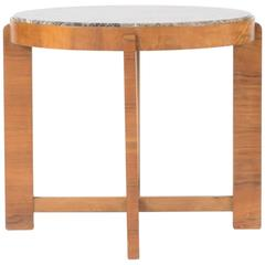 1940s Marble and Mahogany Occasional Table