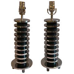 Pair of Mid-Century Modern Spinal Disk from Table Lamps in Chrome