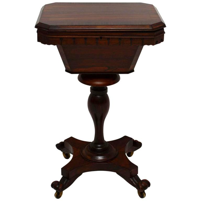 Antique William IV Rosewood Sewing Box Table For Sale