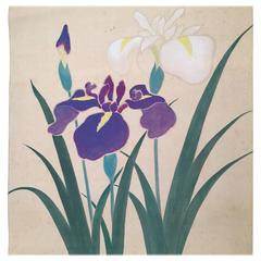 Blooming IRIS Japan Antique Hand-Painted Silk Scroll 100 Years Old