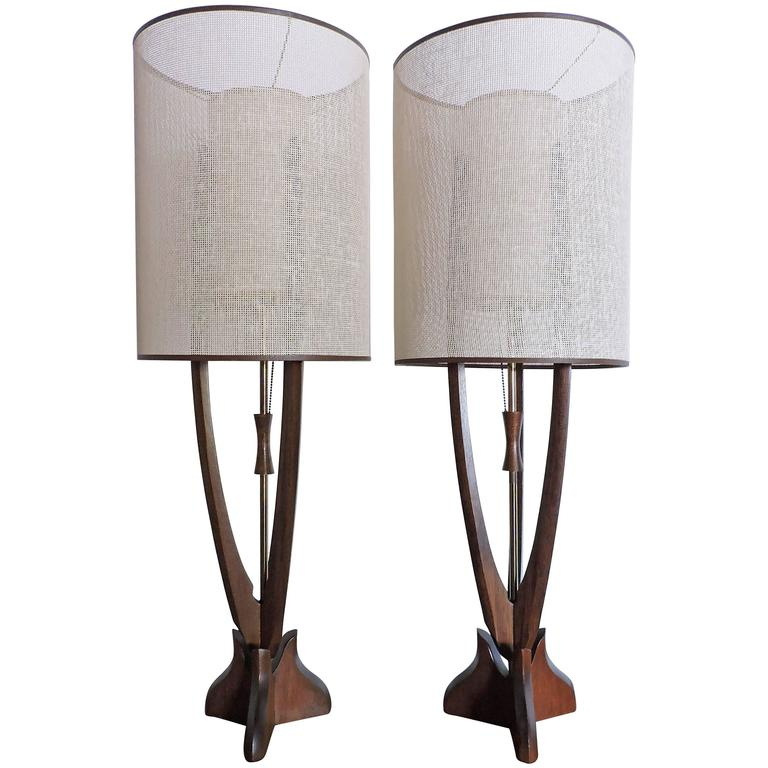 Pair of Large Adrian Pearsall Style Walnut Mid-Century Modern Lamps