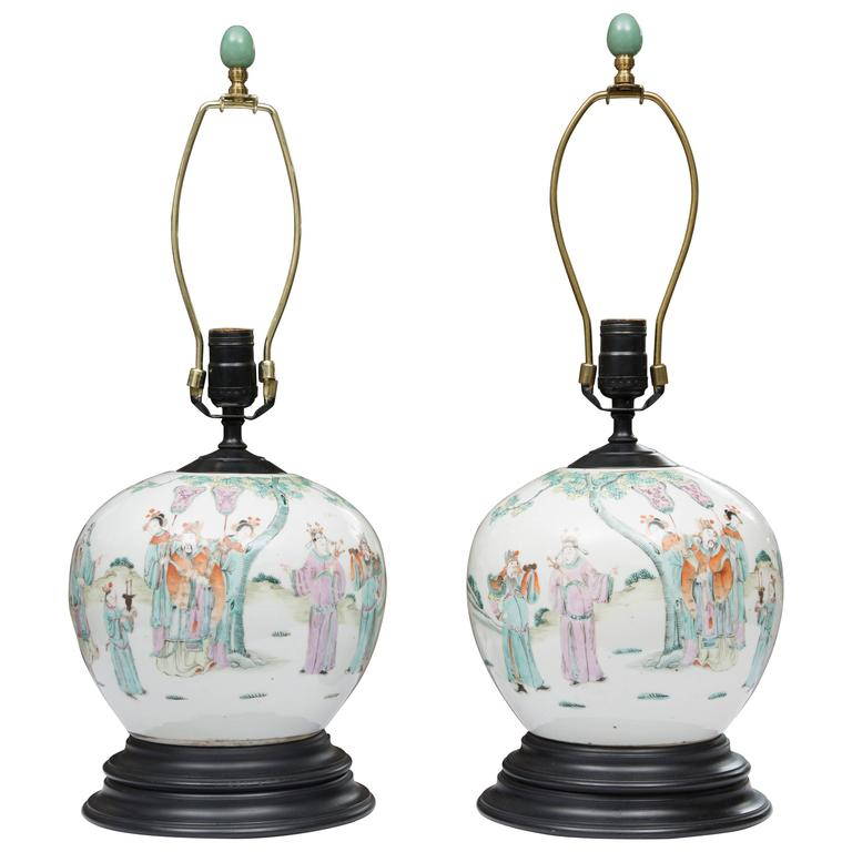 Pair of Antique Chinese Melon Jars as Table Lamps For Sale