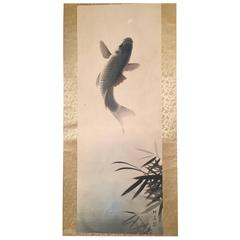 Jumping KOI Fish Japanese Antique Hand painted silk scroll, 1940