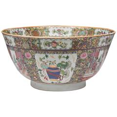 20th Century Chinese Rose Medallion Punch Bowl