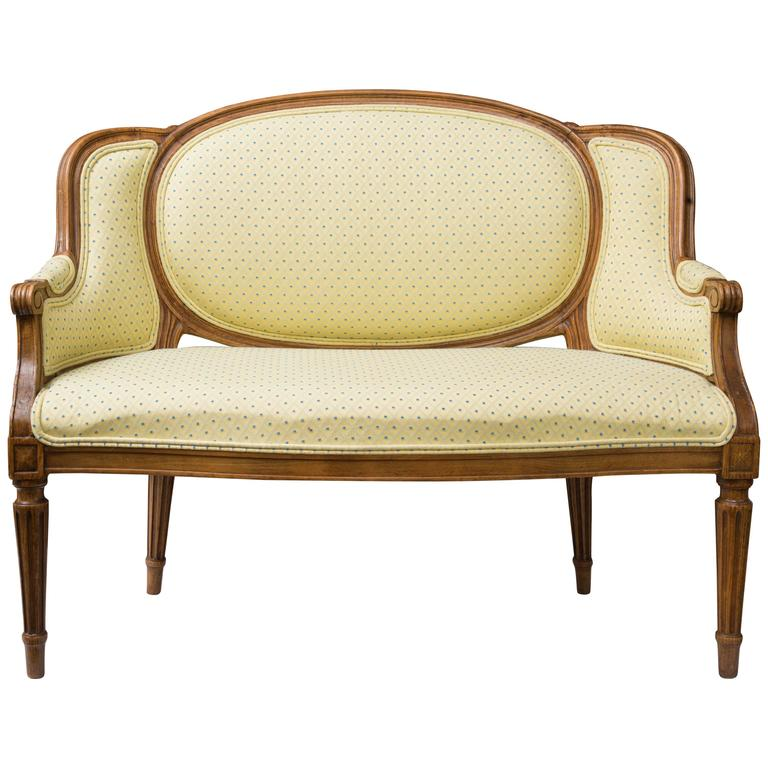 Diminutive Louis XVI Style Upholstered Settee For Sale