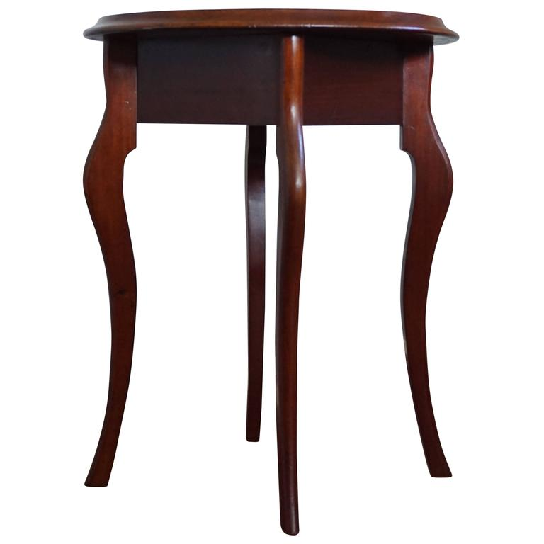 Antique Late 19th Century Hand Crafted Solid Mahogany End Table Or Wine