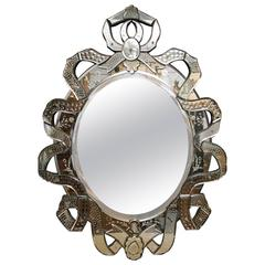 Venetian Etched Ribbon Design Wall Mirror