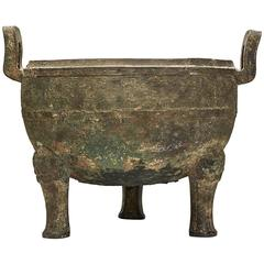 Chinese Bronze Ceremonial Ding Late Shang Dynasty