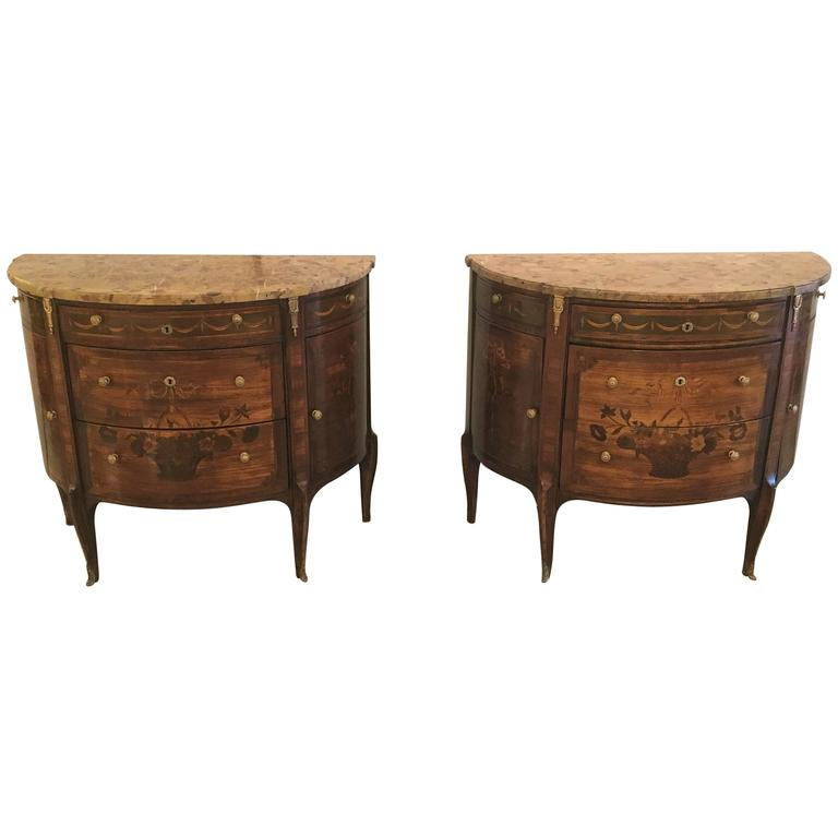 Pair of 19th Century French Louis XV Style Demilune Commode / Bedside Stands