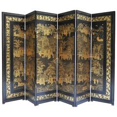 19th Century Chinese Export Lacquer Screen